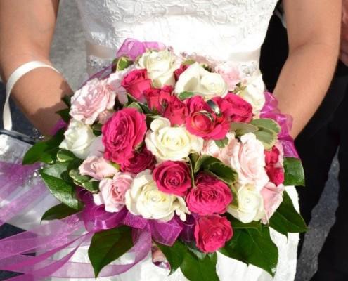 Brautstrauß weiß pink