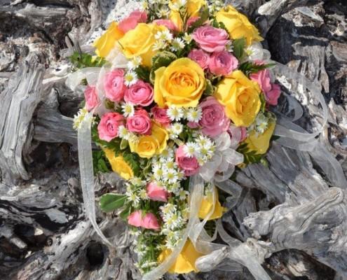 Brautstrauß gelb rosa