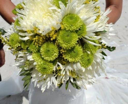 Brautstrauß grün weiß