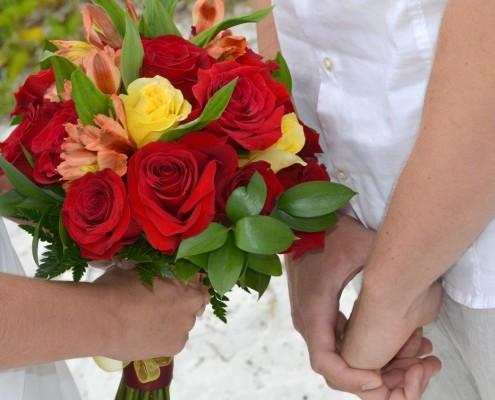 Brautstrauß gelb rot
