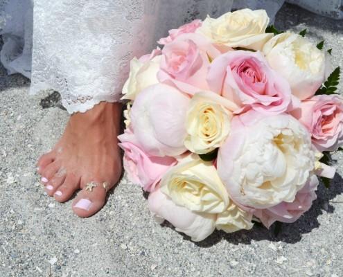 Brautstrauß Rosen rosé creme