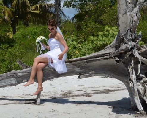 Braut auf Ast