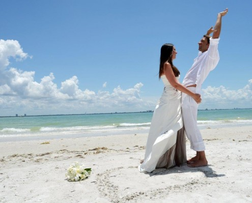 happy beach wedding